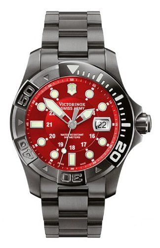 Victorinox Swiss Army Men s 241430 Dive Master 500 Black Ice Red Dial Watch   2f4bfc62dab2