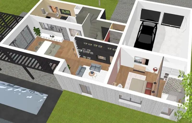Creez Votre Plan Maison 3d En Toute Simplicite Avec Notre Logiciel D Architecture D Interieur Kazapl Plan De Maison Gratuit Plan Maison 3d Logiciel Plan Maison