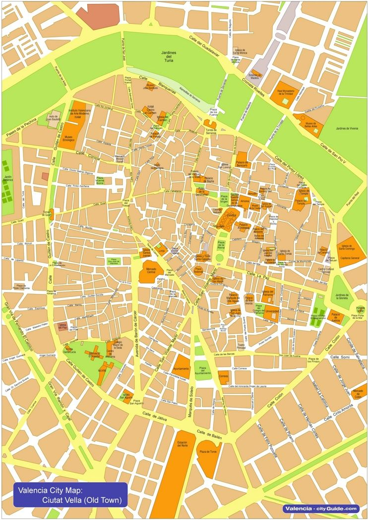 Valencia city center map Maps Pinterest Valencia City and Spain