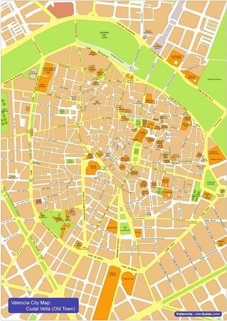 Valencia city center map Maps Pinterest Valencia City and Spain