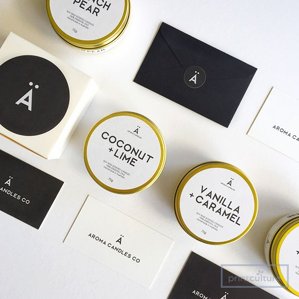 Custom Labels Stickers Designed And Printed By Printculture Candle Logo Candle Packaging Design Business Stationery