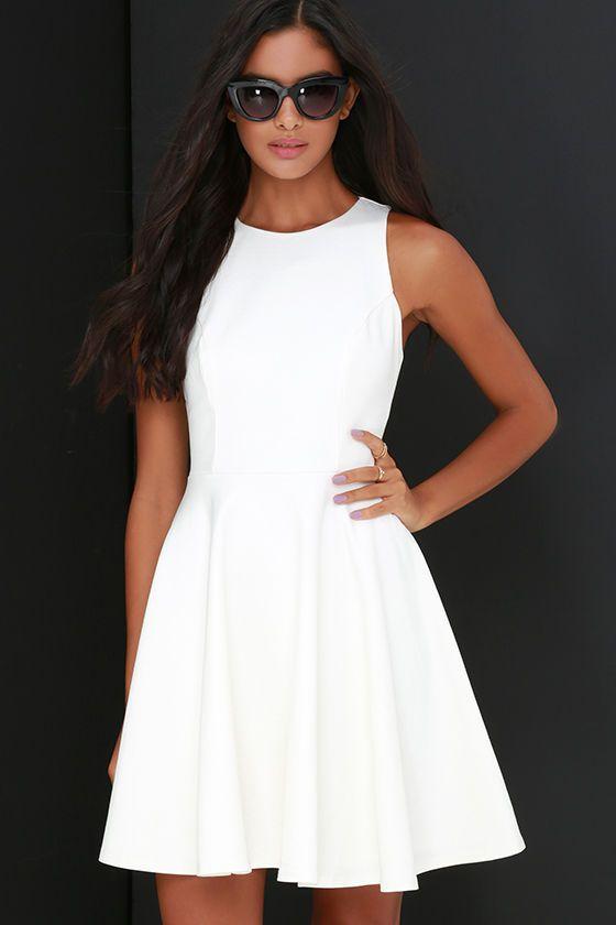 Stylish Ways Ivory Skater Dress   Ivory