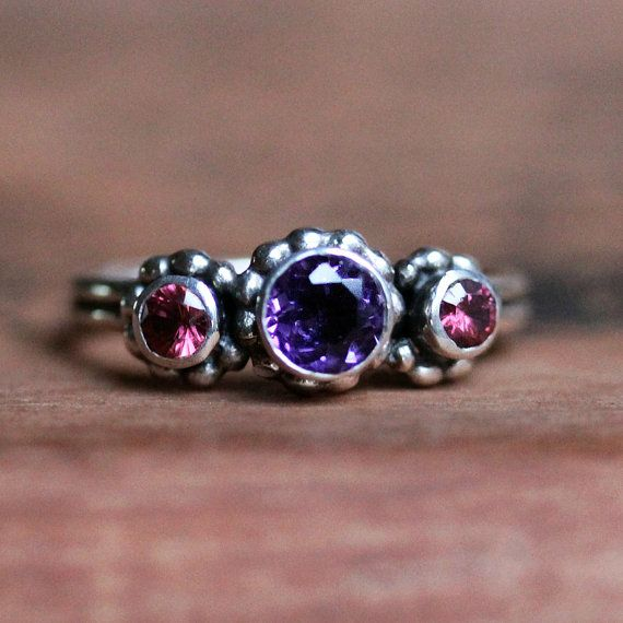 Crush ring trio - 3 stone ring - amethyst and rhodolite garnet - january february birthstones - ready to ship size 6.5 on Etsy, $178.00