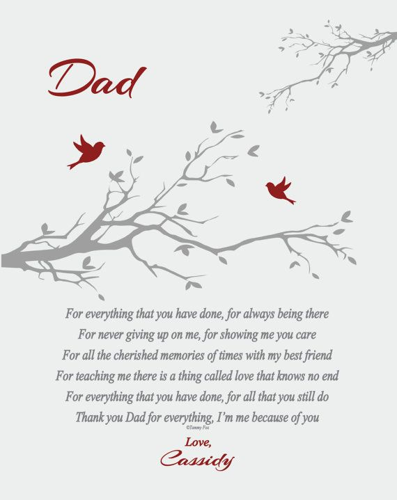 Birthday Christmas gift Dad Poem A4 Personalised Poem For Daddy Fathers day