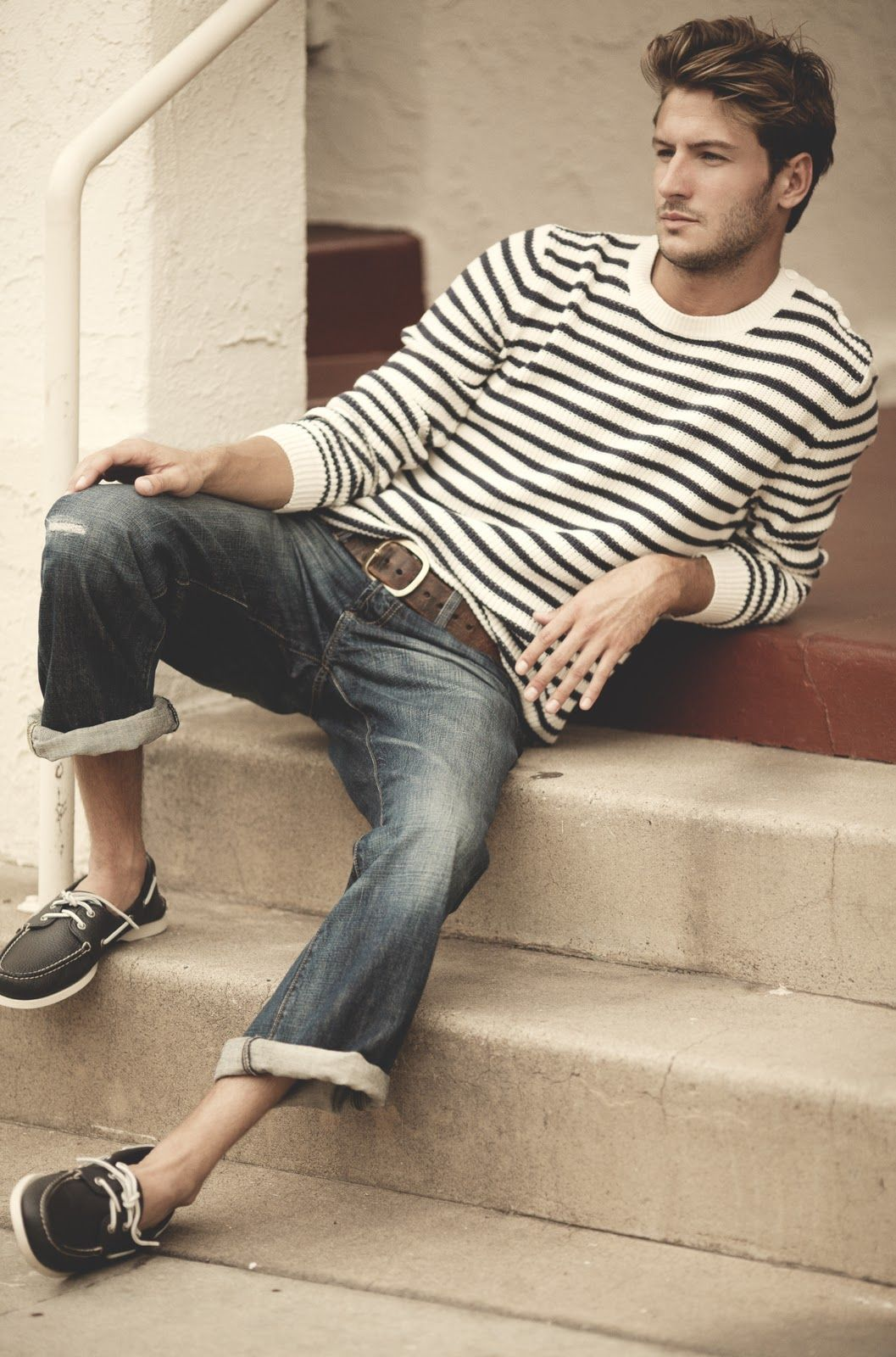 love this men's look. striped shirt, rolled jeans, boat shoes- even tho those are some of the skinniest legs I've ever seen.