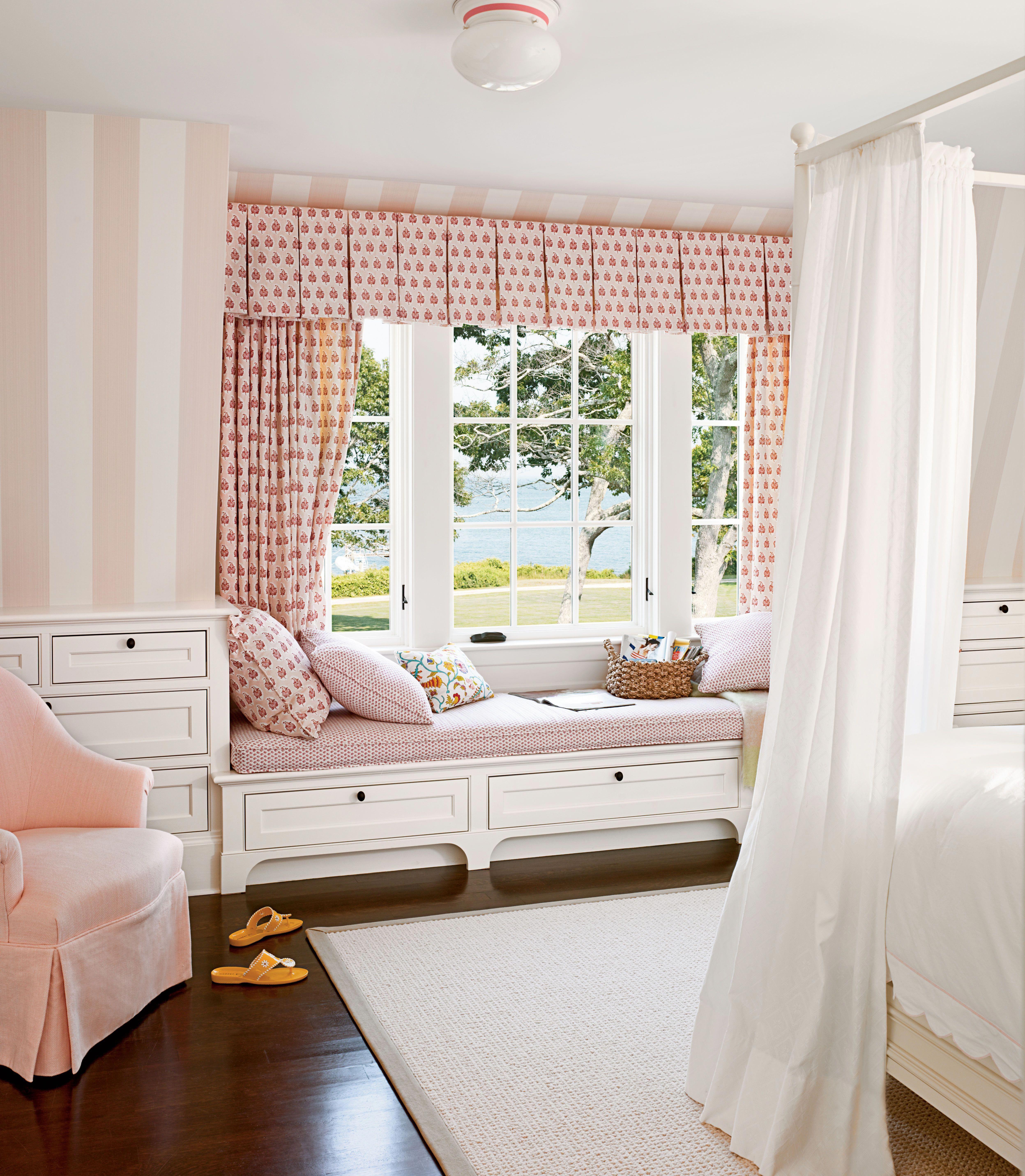 Bed under window  window seat coastallivingrooms  coastal living rooms in