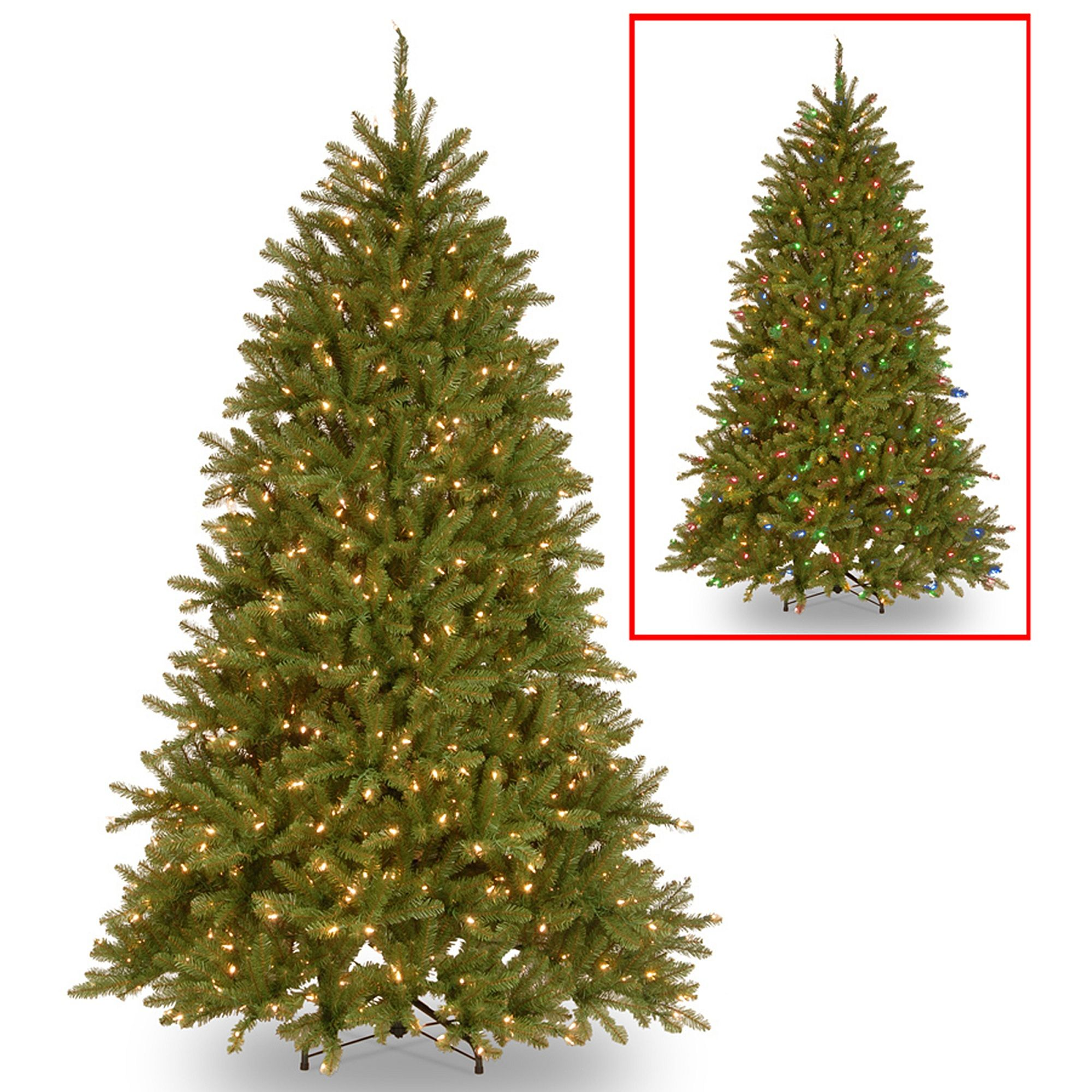 6.5' PreLit Dunhill Fir Artificial Christmas Tree Multi