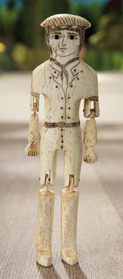 Early American Carved Bone Dol Auctions Online Bone Carving Folk Art Dolls Bone Crafts