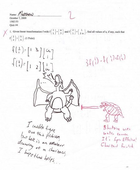 Student draws Charizard as answer to math problem, teacher draws ...