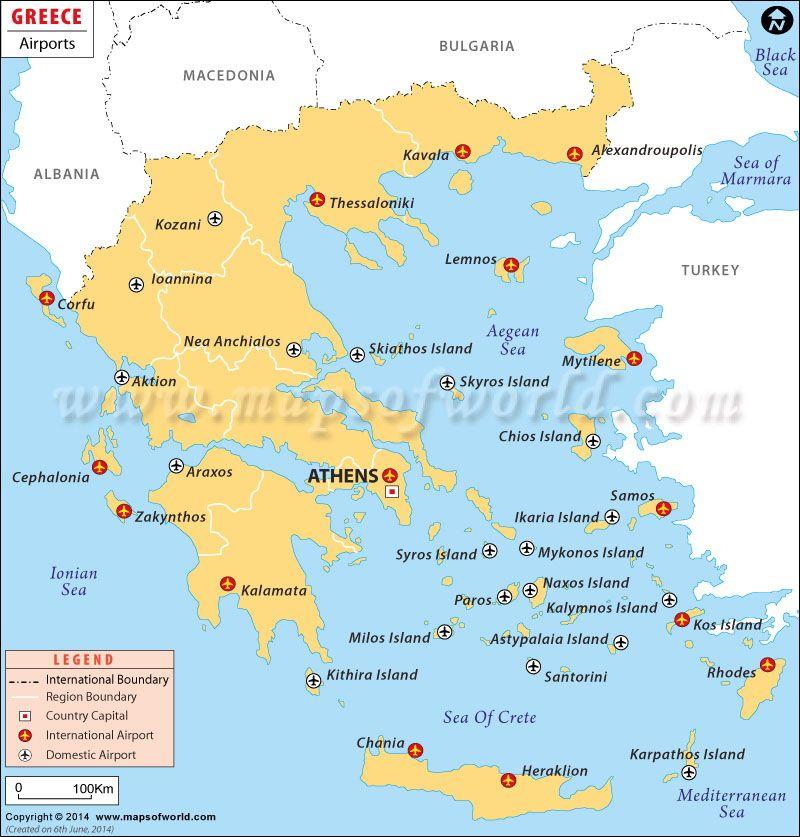 Greek Islands Airports Map