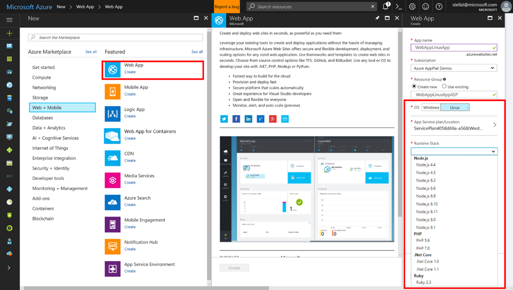 Microsoft Azure App Service on Linux and Web App for