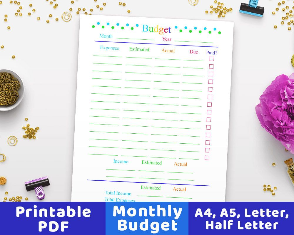 monthly budget planner printable budget worksheet family budget