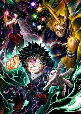 Metal Poster Deku All Might Bakugo Hero