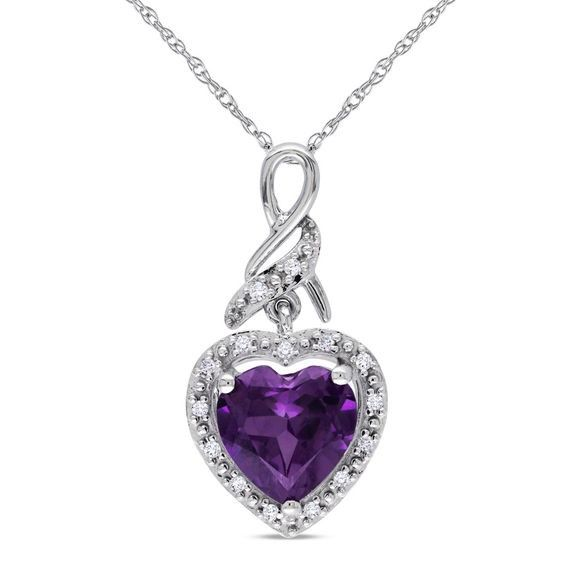 9f9fdb7a09789 8.0mm Heart-Shaped Lab-Created Alexandrite and Diamond Accent Frame ...