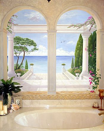 I love trompe l'oeil painting. Looks so real. :) Been wanting to do something like this in my home for years!