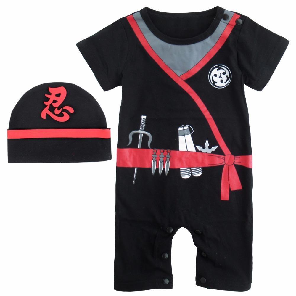 ba3adeb251ed6 2PCS Baby Boy Ninja Cosplay Romper Infant Party Halloween Cosplay Jumpsuit  with Hat Set