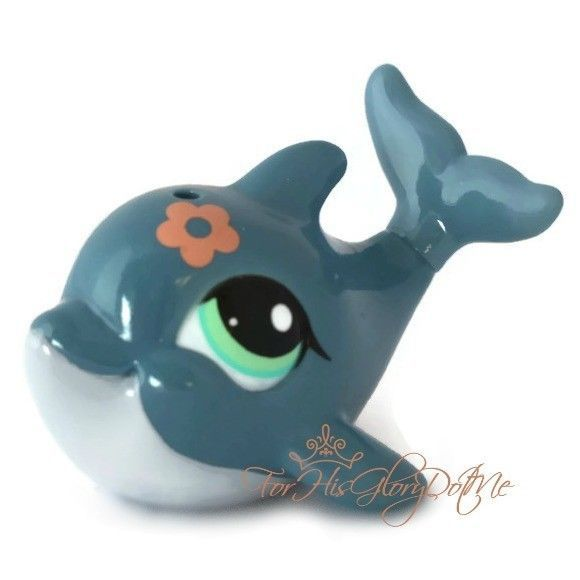 Littlest Pet Shop1603slate Blue Gray Dolphinaqua Eyes