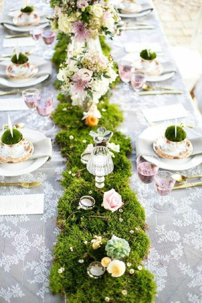 moosdeko hochzeit tischdeko f r outdoor wedding lila. Black Bedroom Furniture Sets. Home Design Ideas