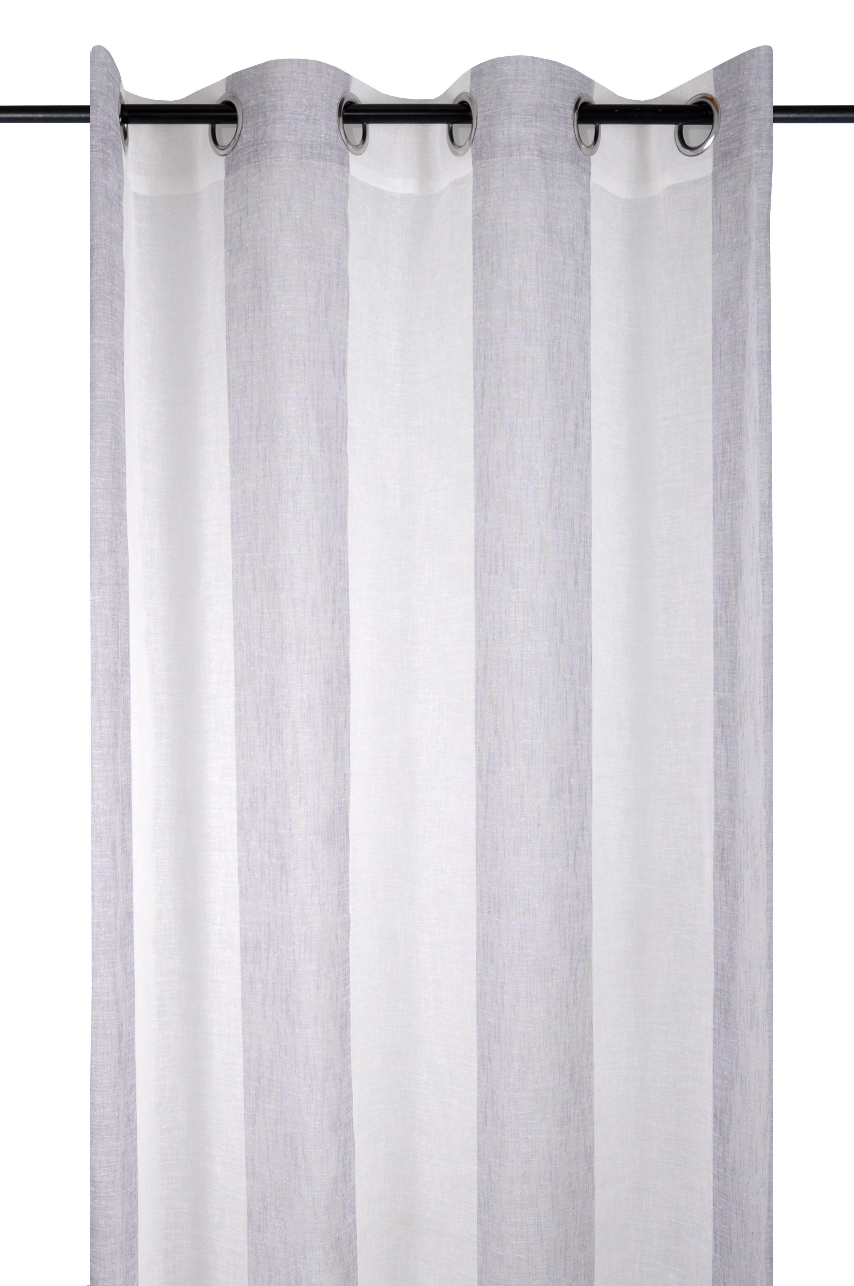 rideau voilage a bandes blanc et gris