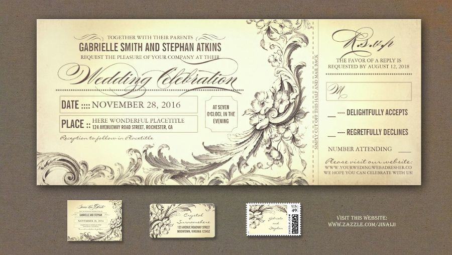 Chic Flourishes Vintage Wedding Ticket Invitations With Rsvp In One Antique Old Fashioned Invitation A Style For Your Unique