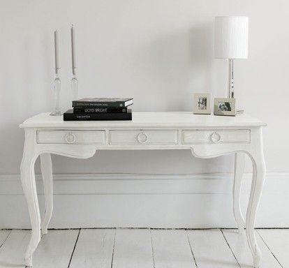 Elegant Writing Desk With Three Useful Drawers In A Matte White Wood Finish Can Also