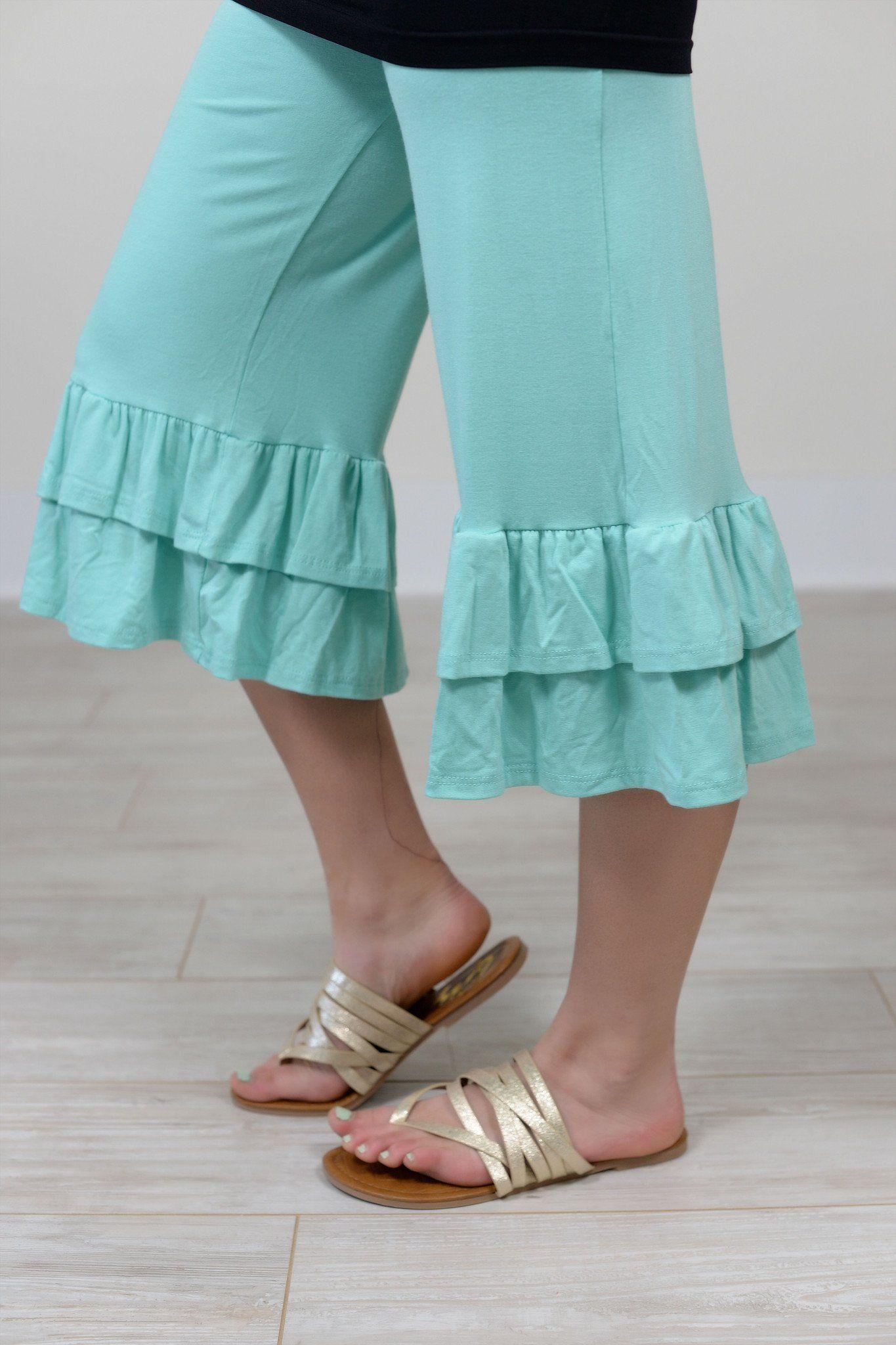 cb431838bfe5b Fancy Pants Mint Double Ruffle Capri Pants - PNT104MT