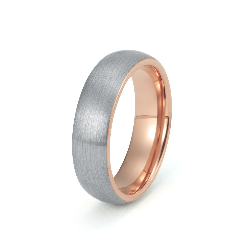 6mm Rose Gold Tungsten Wedding Band Rose gold mens