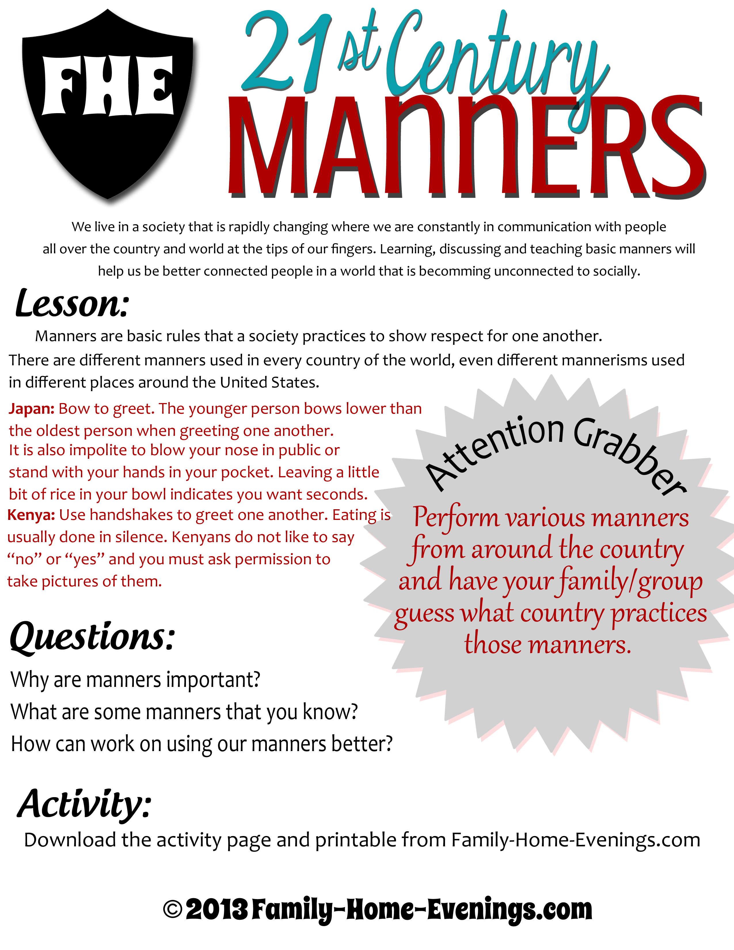 Family Home Evening Family Nights Manners Teaching Manners