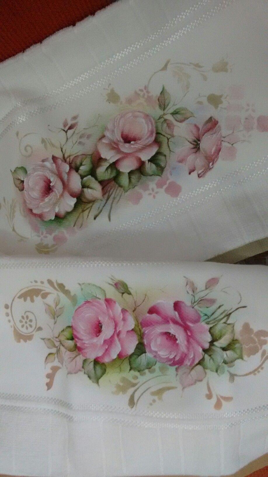 Pintura em toalhas por Tânia Pompermayer #pinturadecorativa
