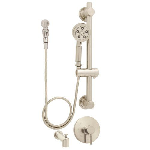 Speakman Sm 1090 Ada Pbn Neo Anystream Handheld Shower Head With Hose Valve Diverter Tub Spout And Adjule Grab Bar Brushed Nickel