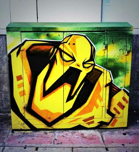 Brighton street-art / graffiti: By local street artist Cassette Lord (Martin Middleton of the Artscape Project) graffiti on a BT junction box
