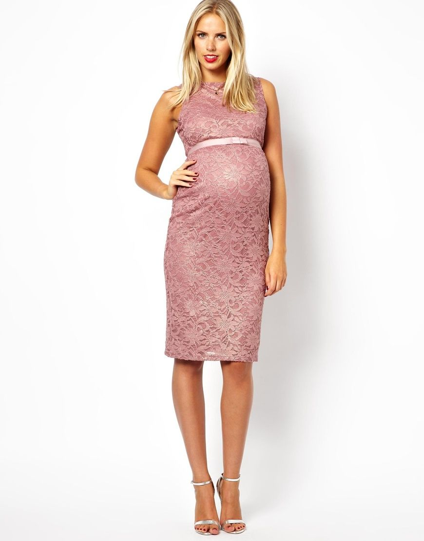Maternity Exclusive Lace Bodycon Dress With Ribbon Detail | Ropa