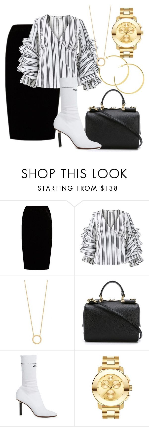 """""""Untitled #2747"""" by thestylegosssip ❤ liked on Polyvore featuring Jupe By Jackie, Caroline Constas, Jennifer Zeuner, Dolce&Gabbana, Vetements and Movado"""