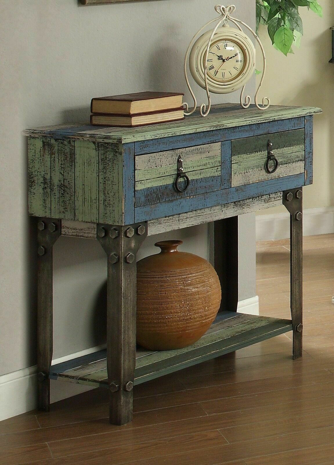 Vintage Rustic Small Console Sofa Table Distressed 2 Drawer Wood Blue Gray Entry Sofa Table Ideas Of Sofa Table Sofa Table In 2020 Sofa Table Sofa Tables Table