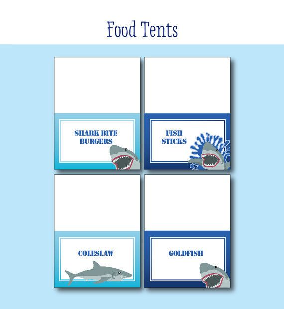 Shark Birthday Party FOOD LABELS Printable Shark Decorations - Free shark birthday invitation template
