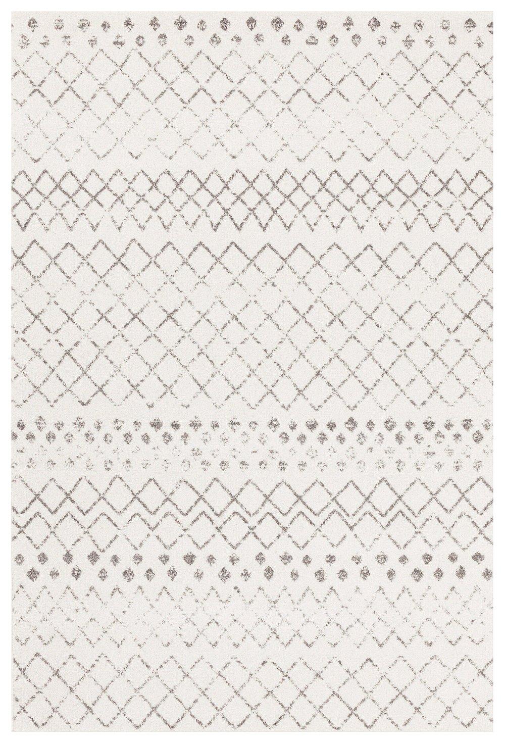 Toulon White Dark Grey Diamond Pattern Rug Neutrals Rugs