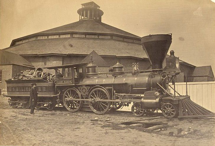 """""""The General Haupt"""". The picture was taken in 1863 in front of the roundhouse at the Alexandria, Virginia train station."""