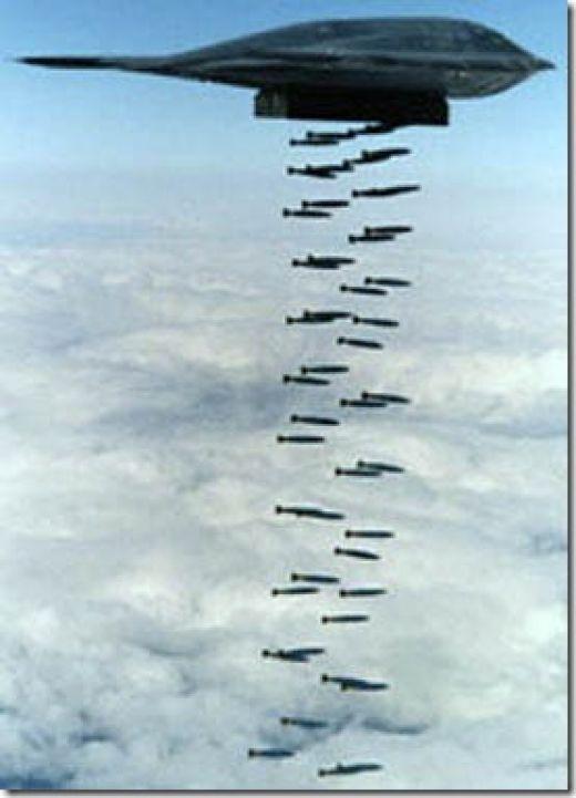 B-2 Spirit bomber bombing the targets