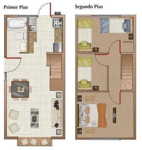 Modelo de casa de dos plantas ideas para el hogar for Planos de construccion de casas pequenas