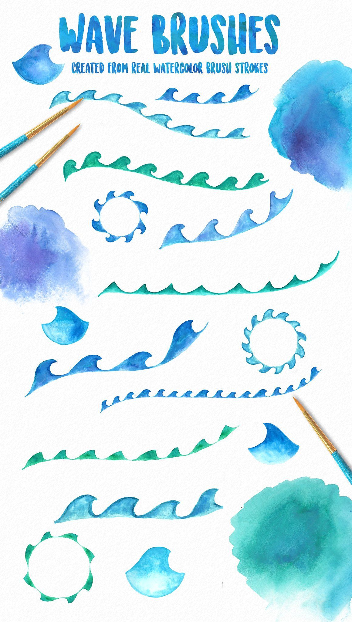 Ocean Waves Watercolor Brush Kit Watercolor Wave Watercolor