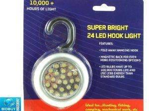 Bid-Buy-Direct New - 24 Led Magnetic Hook Light - For Camping, Mechanical Work, Fishing - Super Bright Long Life Led Light - 10000+ Led Life by Bid-Buy-Direct. $7.99. Runs On 3 X Aaa Batteries (Not Included). Hook Folds Away If Required. Multi-Purpose Uses - Camping, Hunting, Fishing, Mechanical Work, Picnics - Garages, Shed, Horseboxes. Brand New - 24 Super Bright Led White Led Light - Hook & Magnetic. Led Lifetime - 10000+ Hours. Please Remove From The Plastic Packaging. Fit ...