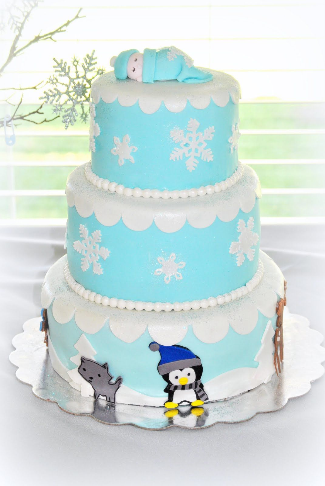 Winter Baby Animal Cake. Winter Wonderland Themed Baby Shower