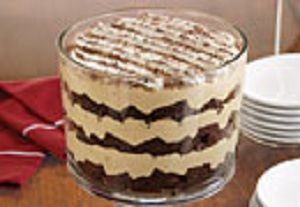 Tiramisu Brownie cake presented in a Trifle Bowl. Beautiful Dessert for your holiday parties.