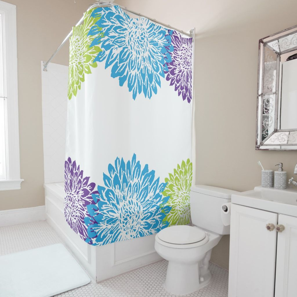 Blue Purple And Lime Green Flower Shower Curtain Zazzle Com