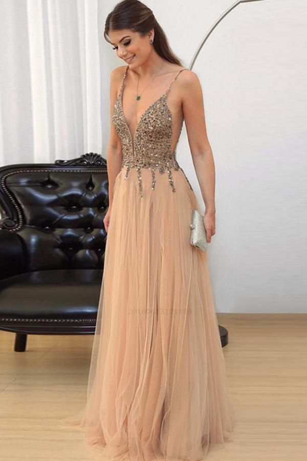 Sleeveless Prom Dress, V Neck Party Dresses, A-Line Party ...