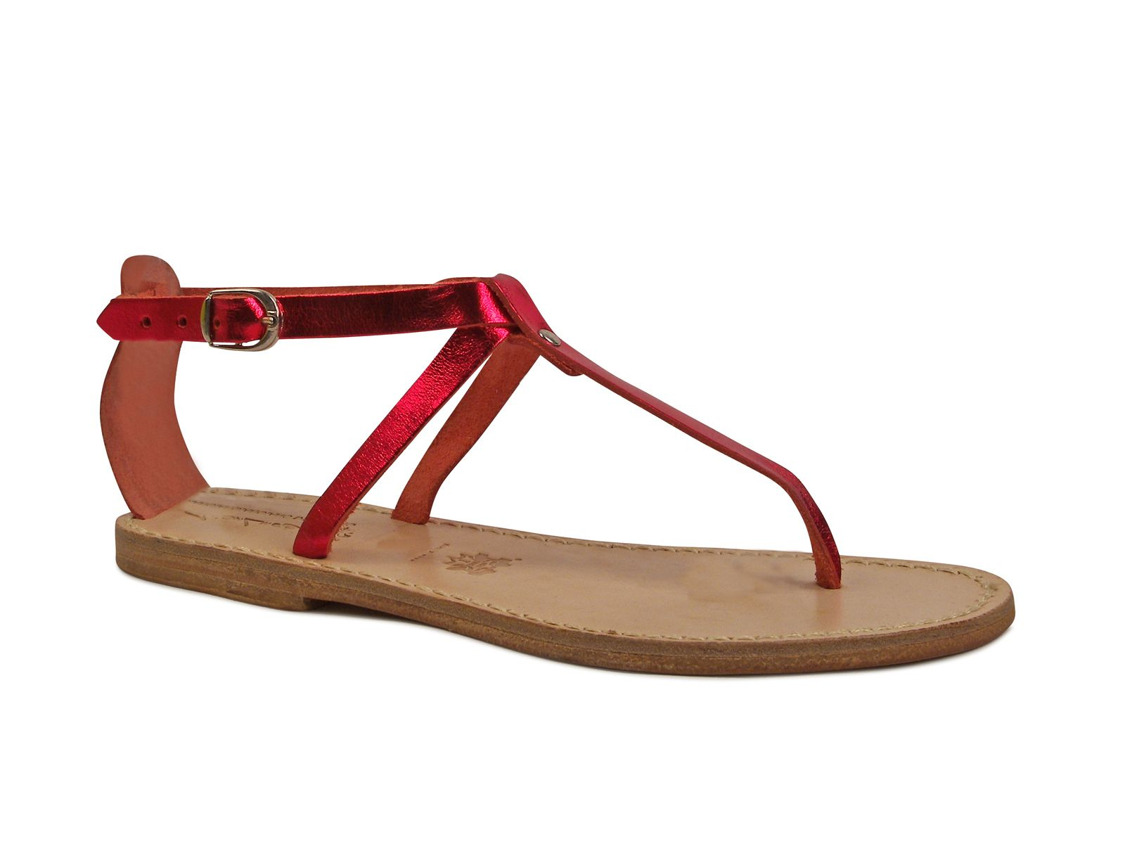 40691962d4c70 Handmade t-strap sandals in red laminated leather - Italian Boutique ...