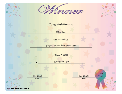 A Congratulations Certificate For Any Winner With Brightly