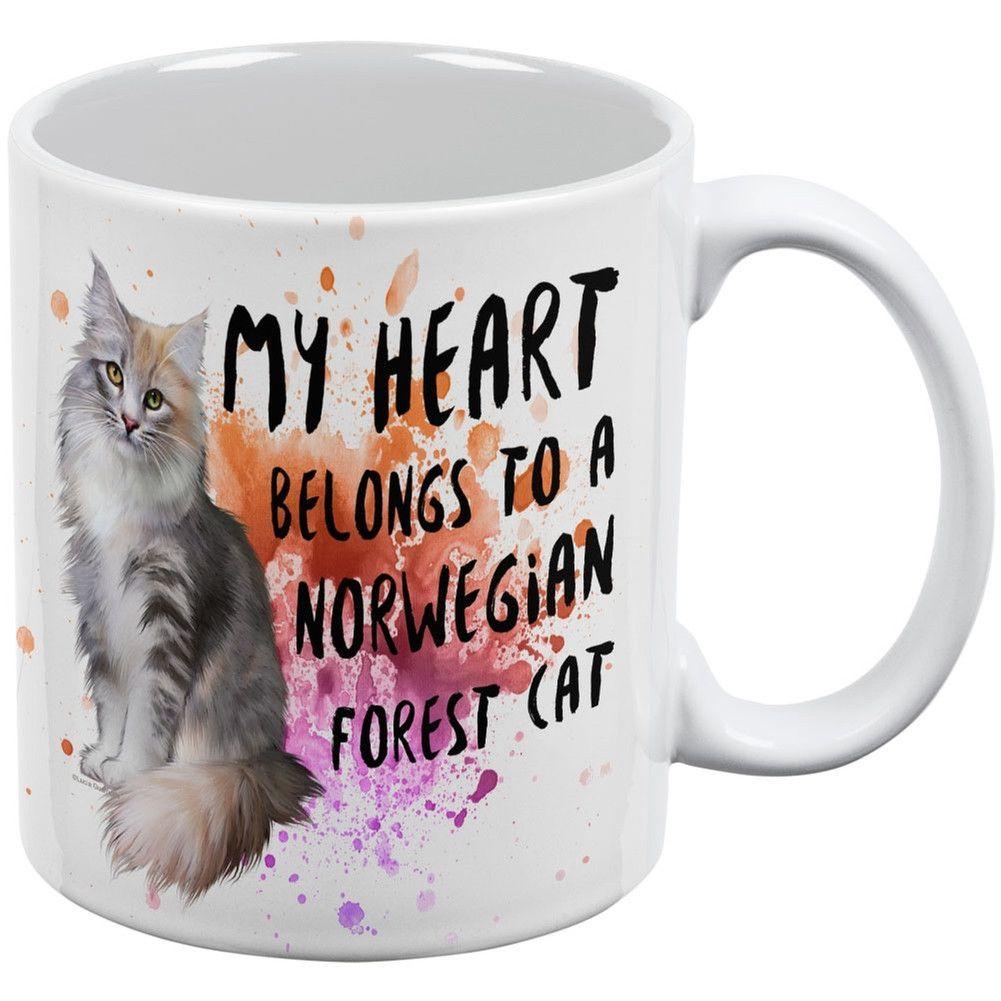 My Heart Belongs Maine Coon Cat White All Over Coffee Mug