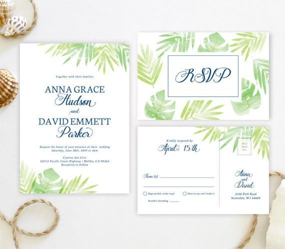 Beach Wedding Invitation Sets Printed On Shimmer Cardstock
