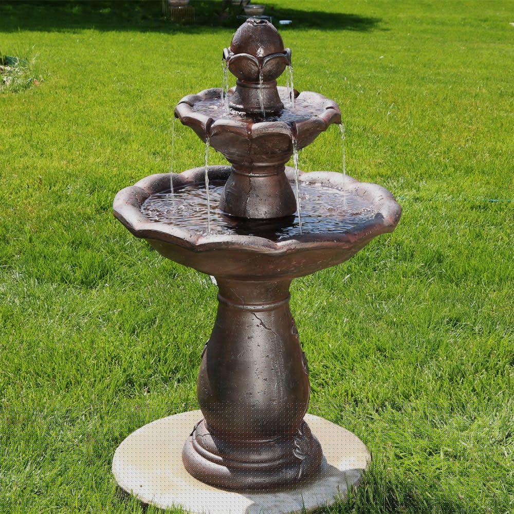 Sunnydaze Flower Spout Top 2 Tier Garden Water Fountain 32 Inch Tall Fountains Outdoor Garden Water Fountains Water Fountains Outdoor